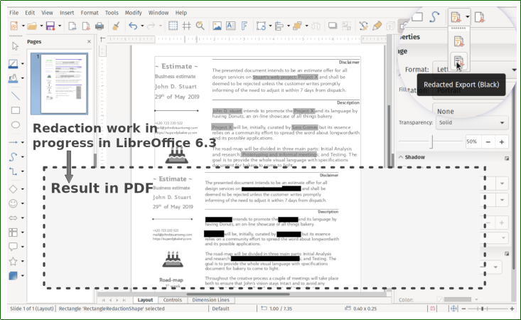 Redaction tool in LibreOffice