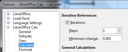 screenshot of Calculate Options