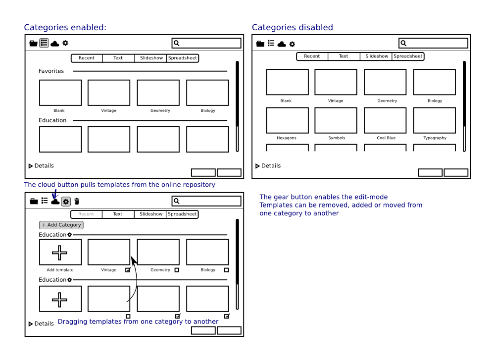 Design rework of the templates and documents dialogue for Rework instructions template