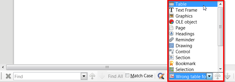 File:LO Writer New list for Navigate on search bar.png