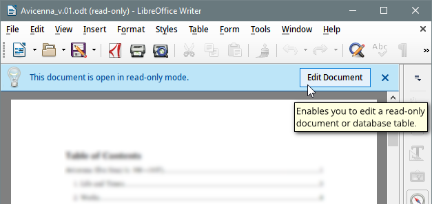 LibreOffice Writer 6.0.2.1 in Read Only mode