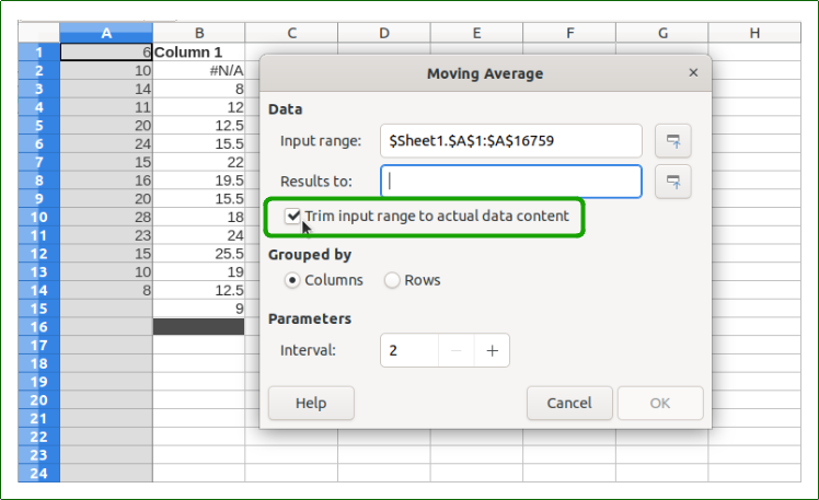 "Moving Average dialog with the new ""trim input range"" checkbox."