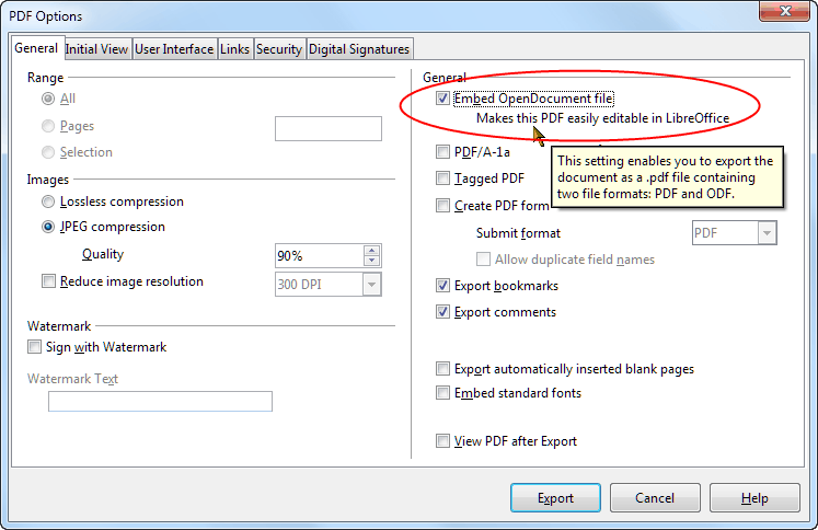 capture of export pdf file dialog