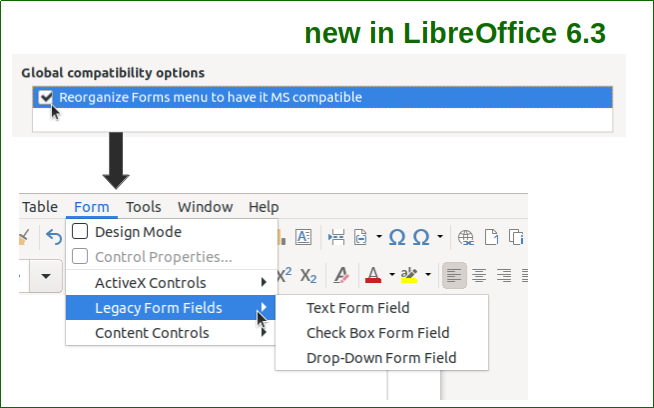 Microsoft compatible forms menu in Writer