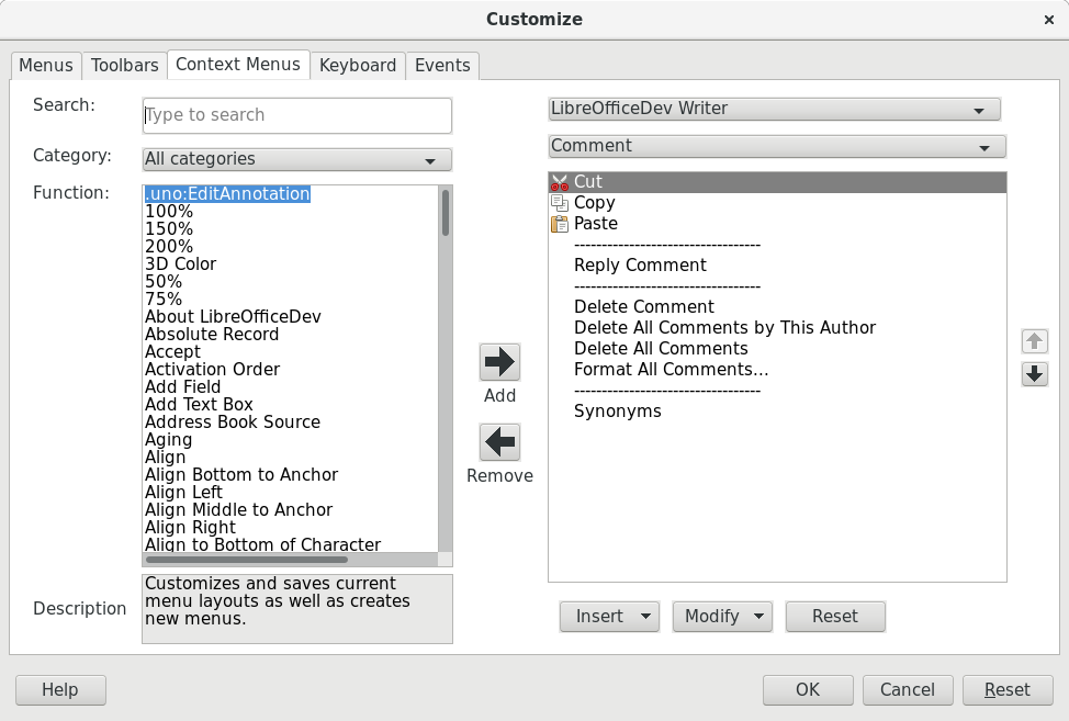 Context Menu tab of the new Customize dialog