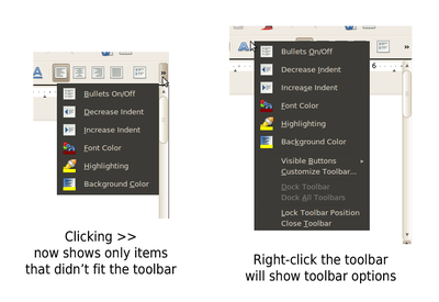 O botão de expansão mostra somente as opções específicas.