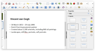 Screen capture of Layouts in LibreOffice Impress on a PC