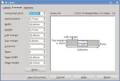 Novo formulário permite a modificação do tamanho da etiqueta.