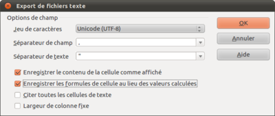 Option export des formules
