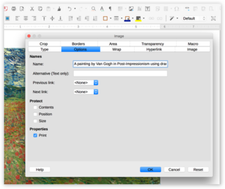 Screen capture of an image's options in LibreOffice Writer on a Mac