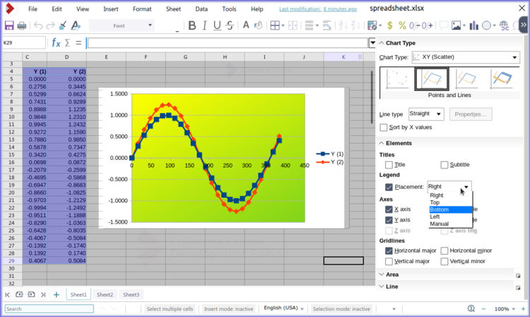 Side bar with chart function in Calc online