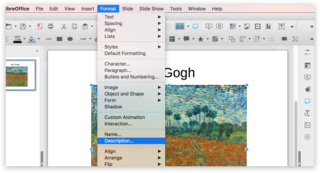Screen capture of an image's options in LibreOffice Impress on a Mac