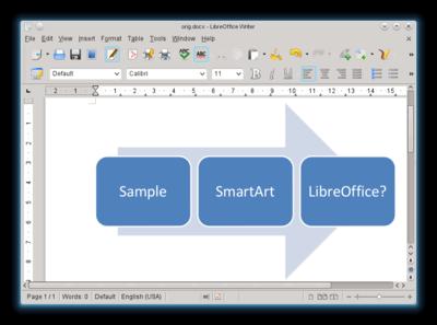 Um exemplo de utilização do Smart Art é mostrado.