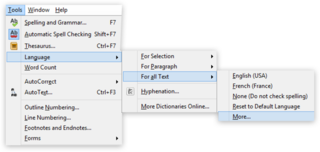 "Screen capture of the ""Tools"" menu highlighting ""Language"" in LibreOffice Writer on a PC"