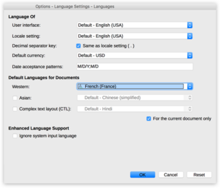 "Screen capture of the ""Language"" options modal in LibreOffice Impress on a Mac"