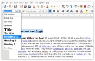 Screen capture of the Paragraph Style dropdown menu in LibreOffice on a PC