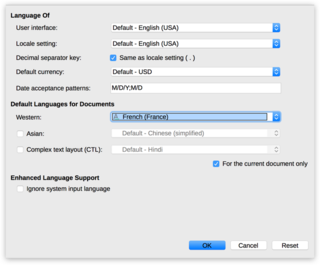 "Screen capture of the ""Language"" options modal in LibreOffice Writer on a Mac"