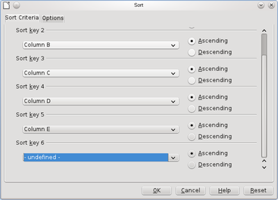 Sort dialog with multiple sort keys (more than three).