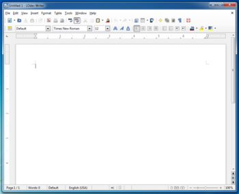 Visual da GUI do LibreOffice 3.6 no Windows 7.