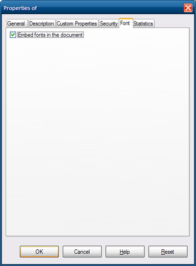 "Screenshot of the File Properties dialog showing the Font tab with option ""Embed fonts in the document"" checked"