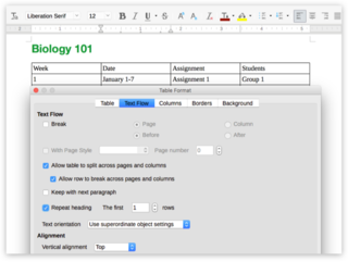 Screen capture of Table Format options in LibreOffice Writer on a Mac