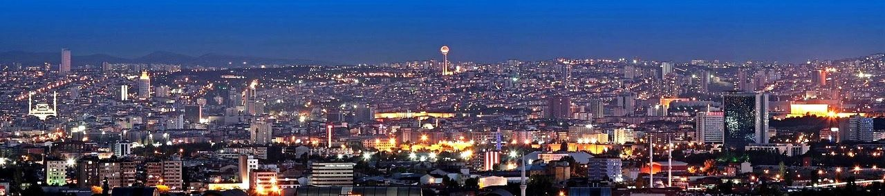 Panoramic view of Ankara at night.