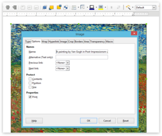 Screen capture of an image's options in LibreOffice Writer on a PC