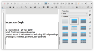 Screen capture of Layouts in LibreOffice Impress on a Mac