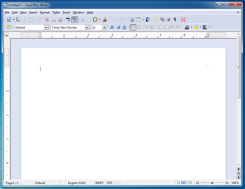 Visual da GUI do LibreOffice 3.5 no Windows 7.