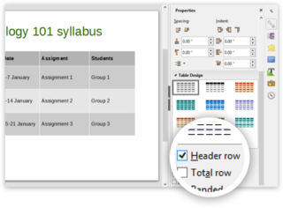 "Screen capture of Table Design options highlighting the ""Header row"" option in LibreOffice Impress on a PC"