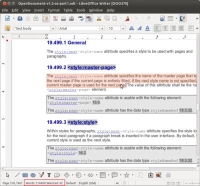 Também é exibida no rodapé a contagem de palavras do texto selecionado.