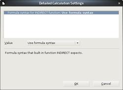 Caixa de diálogo para detalhamento das configurações de cálculo.