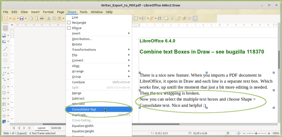 Combine text boxes from e.g. imported PDF files in Draw